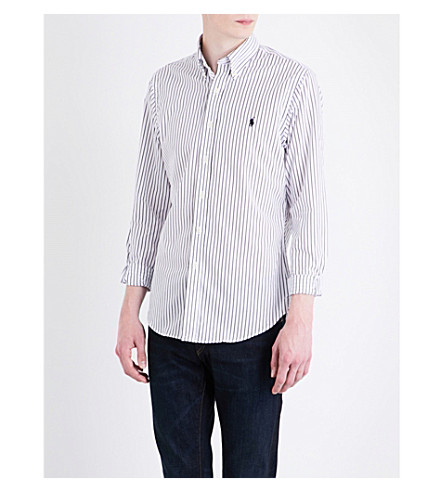 POLO RALPH LAUREN Striped slim-fit button-down cotton shirt (1781+white/blac
