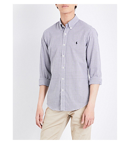 POLO RALPH LAUREN Slim-fit gingham cotton shirt (1783+white/blac