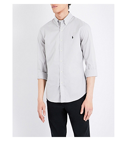 POLO RALPH LAUREN Slim-fit stretch-cotton sports shirt (Silver+smoke