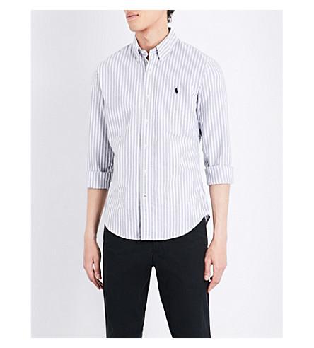 POLO RALPH LAUREN Slim-fit striped cotton shirt (1769+black/whit
