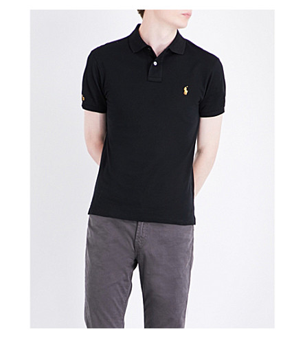 POLO RALPH LAUREN Slim-fit cotton polo shirt (Polo+black