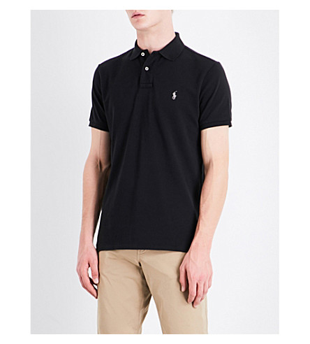 POLO RALPH LAUREN Custom-fit cotton-pique polo shirt (Polo+black