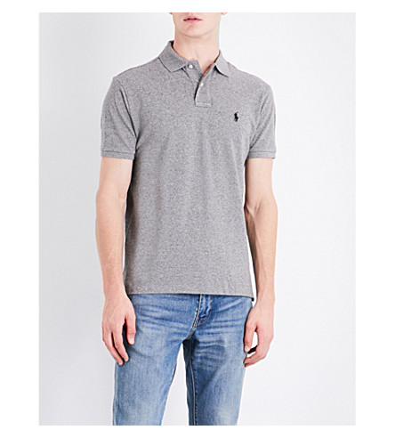 POLO RALPH LAUREN Custom-fit cotton-pique polo shirt (Canterbury+heather