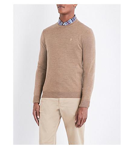 POLO RALPH LAUREN Fine-knit wool jumper (Honey+brown+hea