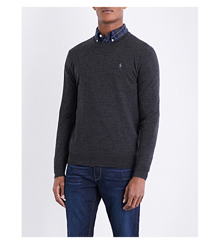 POLO RALPH LAUREN Embroidered-logo wool jumper (Dark+granite+he