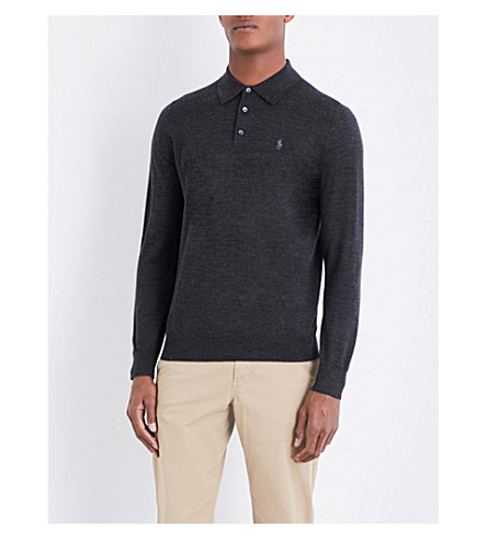 POLO RALPH LAUREN Fine-knit wool polo shirt (Dark+granite+he