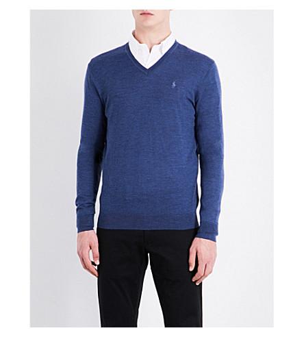 POLO RALPH LAUREN V-neck fine-knit wool jumper (Shale+blue+heat