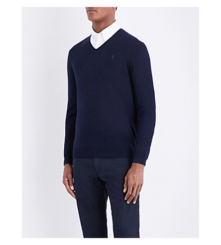POLO RALPH LAUREN Fine-knit wool jumper (Hunter+navy