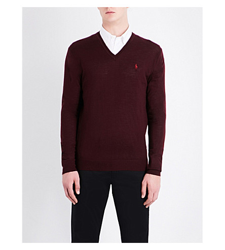 POLO RALPH LAUREN V-neck wool jumper (Italian+red