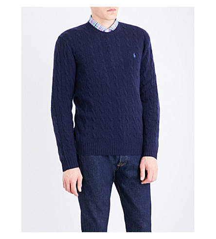 POLO RALPH LAUREN Cable-knit wool and cashmere-blend jumper (Hunter+navy