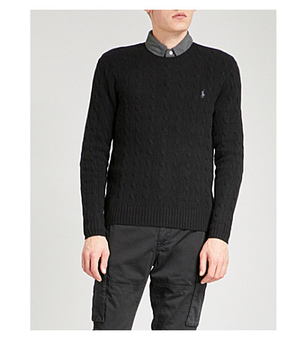 POLO RALPH LAUREN Logo-embroidered cable-knit wool and cashmere-blend jumper (Polo+black
