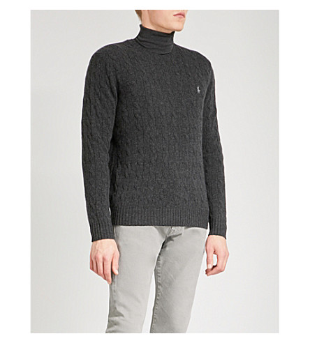 POLO RALPH LAUREN Logo-embroidered turtleneck wool and cashmere-blend jumper (Dark+granite+he