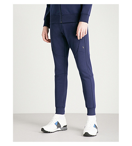POLO RALPH LAUREN Biker-detail skinny jersey jogging bottoms (French+navy