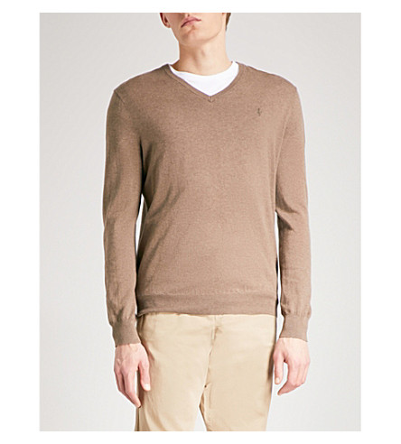 POLO RALPH LAUREN V-neck cotton jumper (Cedar+heather