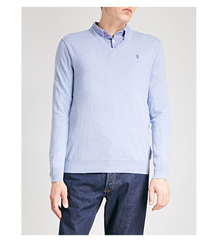 POLO RALPH LAUREN V-neck cotton jumper (New+age+blue+heather