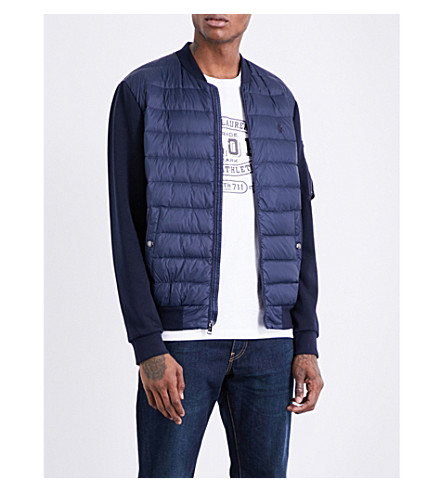 POLO RALPH LAUREN Panelled Hybrid shell-down bomber jacket (French+navy