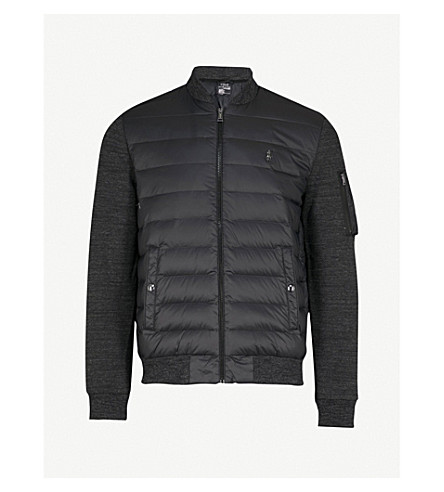 POLO RALPH LAUREN Contrasting cotton-jersey and padded shell jacket (Pure+blk/black+marl