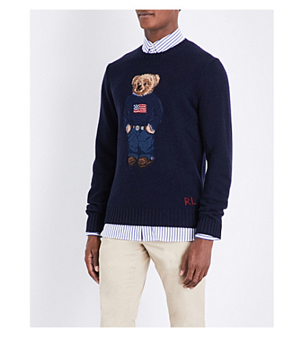POLO RALPH LAUREN The Iconic Polo Bear wool-blend jumper (Navy