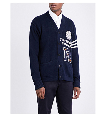 POLO RALPH LAUREN Varsity-embroidered cotton and linen-blend cardigan (Navy+w/+grey+st