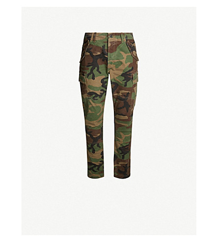 POLO RALPH LAUREN Camouflage-patterned slim-fit tapered cotton trousers (Surplus+camo
