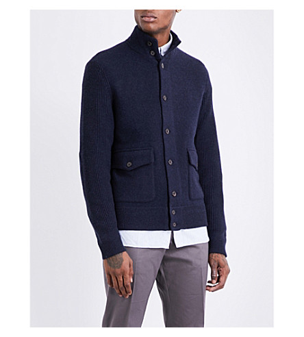 POLO RALPH LAUREN Button-up wool and cashmere-blend jacket (Medieval+blue+h