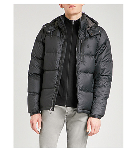 POLO RALPH LAUREN Hooded shell-down and feather-blend puffer jacket (Polo+black