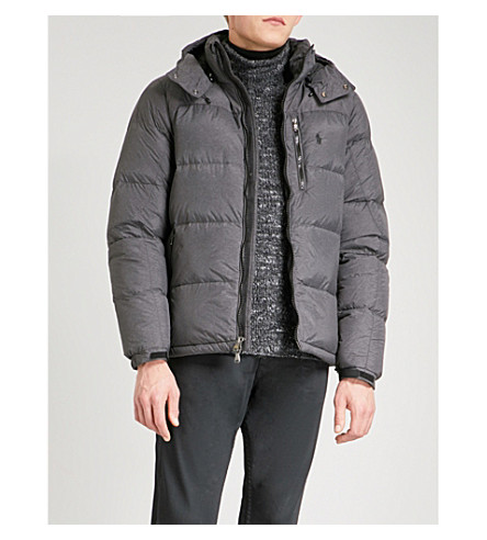 POLO RALPH LAUREN Hooded shell-down and feather-blend jacket (Windsor+heather