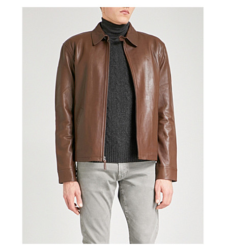 POLO RALPH LAUREN Maxwell leather jacket (American+brown