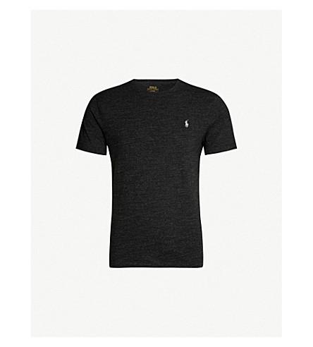 POLO RALPH LAUREN 标识刺绣平纹针织棉 T 恤 (黑 + 石灰泥 + 石楠