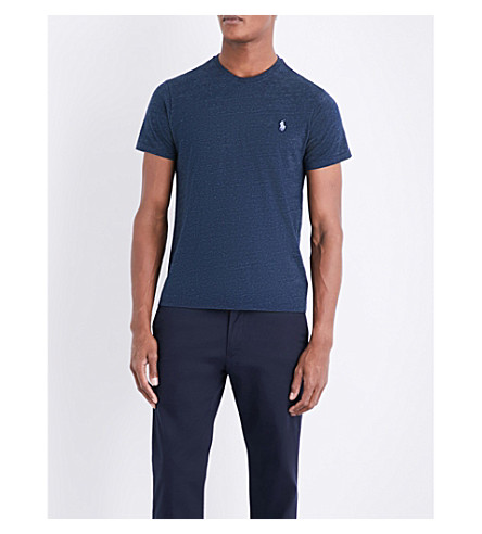 POLO RALPH LAUREN Custom slim-fit marl-pattern T-shirt (Blue+eclipse+he