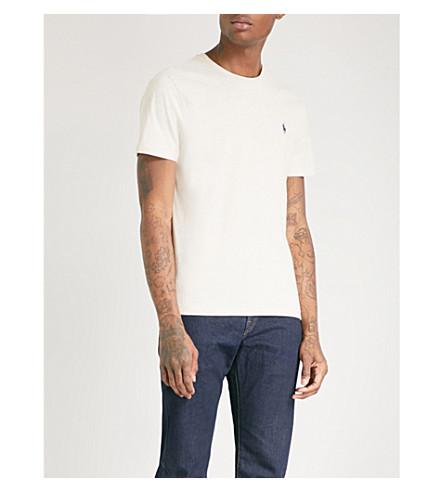 POLO RALPH LAUREN Logo-embroidered cotton-jersey T-shirt (New+sand+heather
