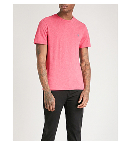 POLO RALPH LAUREN Logo-embroidered cotton-jersey T-shirt (Salmon+heather