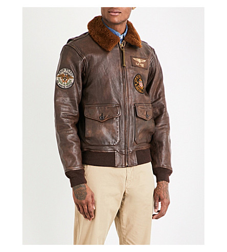 POLO RALPH LAUREN G1 leather bomber jacket (Bison+brown