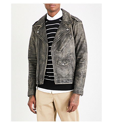 POLO RALPH LAUREN Faded leather biker jacket (Black+coal