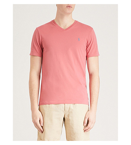 POLO RALPH LAUREN Custom-fit cotton-jersey T-shirt (Adirondack+berry