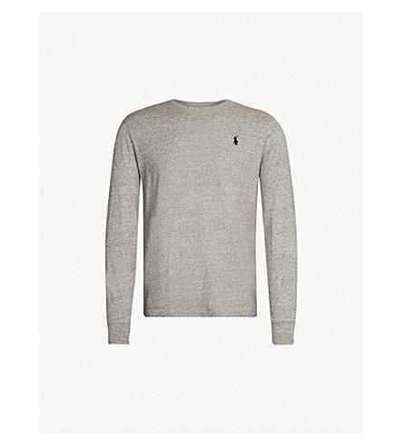 POLO RALPH LAUREN Custom slim-fit cotton T-shirt (Dark+vintage+heather