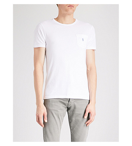 POLO RALPH LAUREN 徽标-刺绣口袋棉球衣 t恤衫 (白色