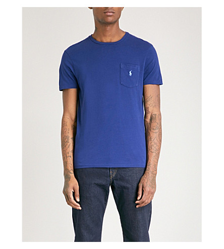 POLO RALPH LAUREN Logo-embroidered pocket cotton-jersey T-shirt (Fall+royal