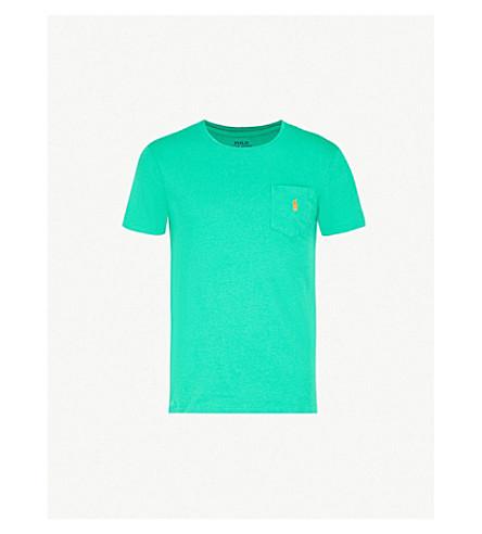 POLO RALPH LAUREN Logo-embroidered pocket cotton-jersey T-shirt (Green+grass