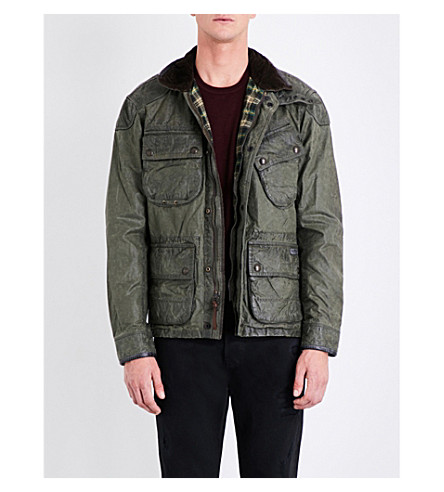 POLO RALPH LAUREN Ribbed-collar wax-cotton jacket (Regiment+green