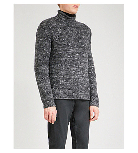 POLO RALPH LAUREN Marled chunky-knit turtleneck wool-blend jumper (Charcoal