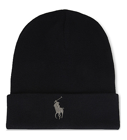 POLO RALPH LAUREN Big Pony knitted cotton beanie (Polo+black