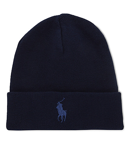 POLO RALPH LAUREN Big Pony knitted cotton beanie (Hunter+navy