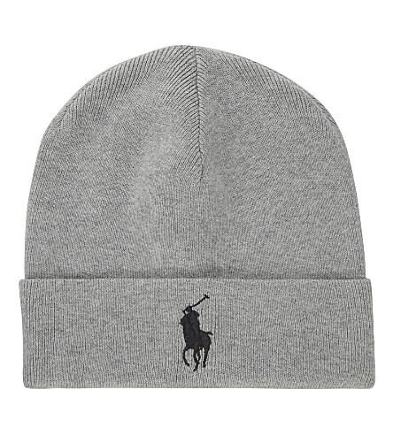 POLO RALPH LAUREN Big Pony knitted cotton beanie (Rugby+heather