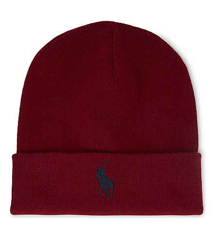 POLO RALPH LAUREN Big Pony knitted cotton beanie (Red