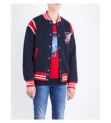 POLO RALPH LAUREN STADIUM COLLECTION COTTON-BLEND BOMBER JACKET, AVIATOR  NAVY