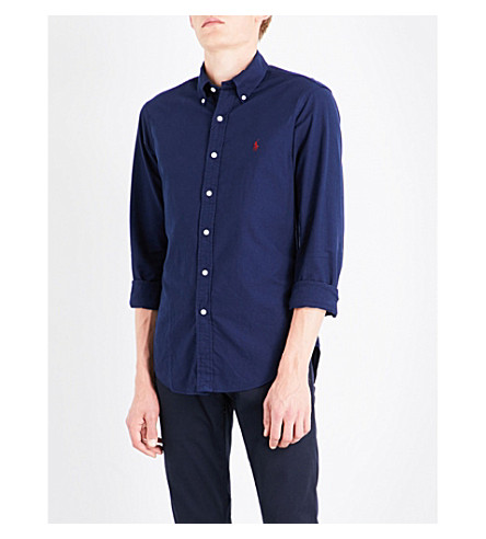 POLO RALPH LAUREN Slim-fit cotton shirt (Windsor+navy