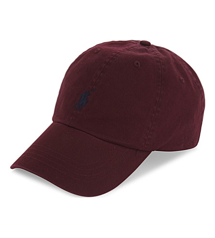 POLO RALPH LAUREN Embroidered logo cotton baseball cap (Fall+burgundy