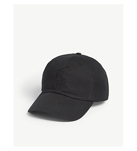 POLO RALPH LAUREN Embroidered logo cotton baseball cap (Black/black