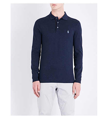 POLO RALPH LAUREN Logo-embroidered stretch-cotton polo shirt (Winter+navy+hea